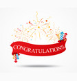 congratulations design with fireworks and ribbon vector image