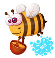 crazy bee - cartoon character vector image vector image