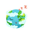 cute earth planet character sleeping in white vector image vector image