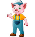 cute farmer pig cartoon vector image vector image