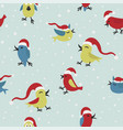 cute funny santa claus birds seamless pattern vector image