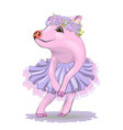 cute pig in an elegant pink dress vector image