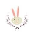 cute white easter bunny head with willow twigs vector image vector image
