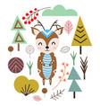 deer in scandinavian style vector image vector image