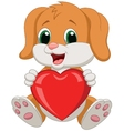 Dog cartoon holding red heart vector image