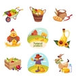 Farm Products And Animals Set Of Bright Stickers vector image vector image