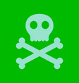flat icon stylish background halloween skull bones vector image vector image