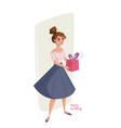 funny cartoon woman with gifts in hands vector image