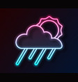 glowing neon line cloud with rain and sun icon vector image vector image