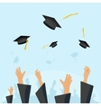 Graduating students pupil hands gown throwing caps vector image vector image