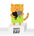 happy mothers day cat hugging baby kitten kittens vector image