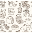 Home appliances themed doodle Seamless Pattern vector image vector image