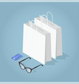 isometric shopping concept vector image vector image