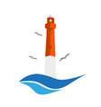 lighthouse with birds on a white background vector image