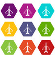military aircraft icon set color hexahedron vector image vector image