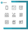 mobile interface outline set 9 pictograms of vector image vector image