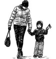mother and her little child go for a walk vector image vector image