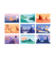 mountain landscape set scenes of nature in vector image vector image