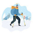 nordic walker in funny hat bubo vector image vector image
