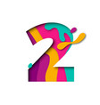 paper cut number two 2 letter realistic 3d multi vector image
