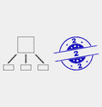 pixel hierarchy icon and distress 2 stamp vector image vector image
