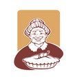 portrait of lovely grandmother and home made pie vector image