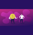 rich businessman with dollar coin and poor vector image
