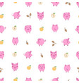 seamless pattern with small cartoon pink pigs vector image vector image