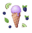 set ice cream with fruits including strawberry vector image vector image