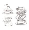 set of cups and mug vector image vector image