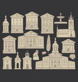 set of drawings of houses and churches in cities vector image