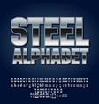 set of silver alphabet letters vector image vector image