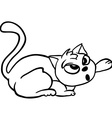 simple black and white cat cartoon vector image
