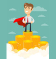superhero proudly standing on the huge money vector image vector image