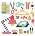 thread supplies accessories sewing equipment vector image vector image