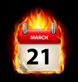 twenty-first march in calendar burning icon on vector image vector image