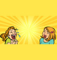 two cheerful girlfriend girls laugh vector image vector image