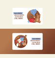 valentine s day cute business card set heart vector image