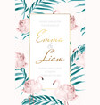 wedding invite flamingo rose flower palm leaves vector image vector image