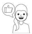 young woman happy with like message avatar vector image vector image
