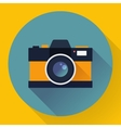 Flat style with long shadows camera icon vector image