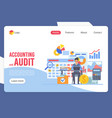 accounting and audit landing page template vector image vector image