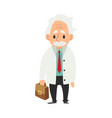 An old man with a mustache standing with a medical