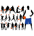 Basketball player silhouettes vector image vector image