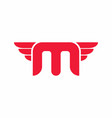 bold m letter with wings logo template vector image