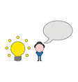 businessman character with glowing light bulb and vector image vector image