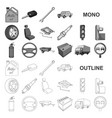 car vehicle monochrom icons in set collection for vector image