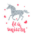 card with fantasy unicorn and silver glitter vector image