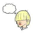 cartoon fashion haircut with thought bubble vector image