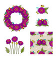 collection of floral elements vector image vector image